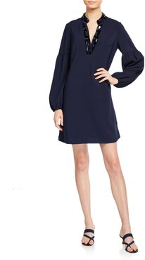 Shea Long-Sleeve Stretch Dress w/ Embellished Collar