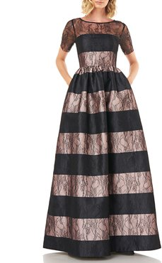 Alexis Striped Short-Sleeve Mikado Ball Gown with Lace