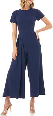 Lucie Short-Sleeve Cropped Wide-Leg Jumpsuit