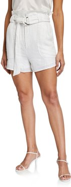 Inaro Belted Paperbag Shorts w/ Sequins