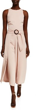 Mairead Belted Draped Sleeveless Jumpsuit