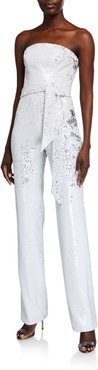 Trinity White Micro Sequin Strapless Jumpsuit