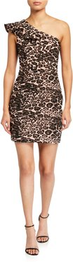 Jojo Leopard-Print One-Shoulder Mini Dress