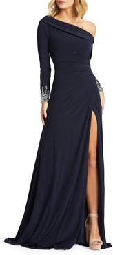 Long-Sleeve Beaded Cuff Asymmetric Jersey Wrap Gown