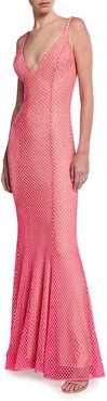 Embellished Net Backless Gown