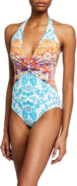 Plus Size Ellyo Twisted Halter One-Piece Swimsuit