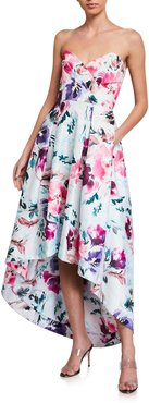Paulina Floral Strapless High-Low Dress
