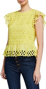 Sue Embroidered Ruffle-Sleeve Top