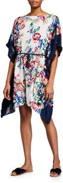 Plus Size Maya Fringed Floral-Print Coverup Sun Dress