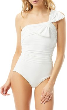 Ruched One-Shoulder One-Piece Swimsuit