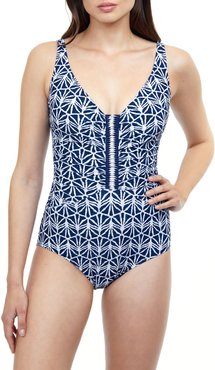 Nomad Deep V-Neck Printed One-Piece Swimsuit