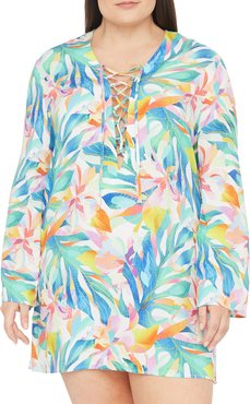 Plus Size Wild Tropic Coverup Floral Tunic