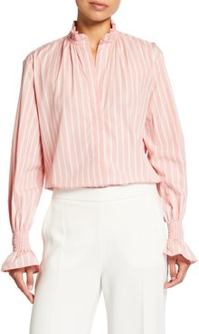 Striped Ruffle-Neck Shirt