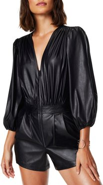 Ines Faux Leather Puff-Sleeve Romper