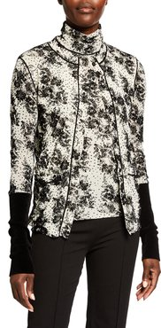 Flocked Button-Front Cardigan