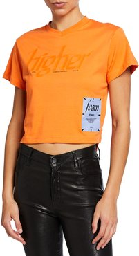 Cropped V-Neck High-Low Tee