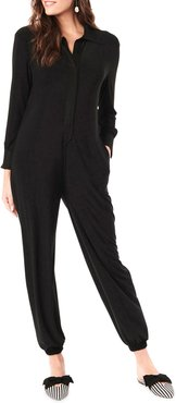 Maternity Tess Long-Sleeve Collared Jumpsuit