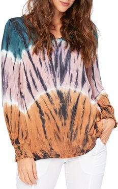 Bluma V-Neck Ruched Cuff Printed Top