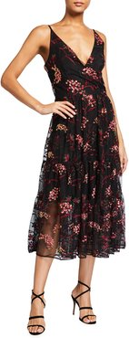 Paulette Sequin Floral Embroidered Midi Dress