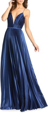 V-Neck Pleated Satin A-Line Gown