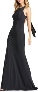 Open-Back Jersey Sheath Gown with Sequined Bow