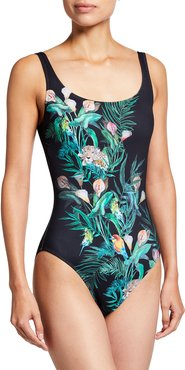 Plus Size Calla Lily Printed One-Piece Swimsuit