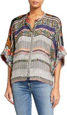 Plus Size Lucasta Reversible Silk Blouse