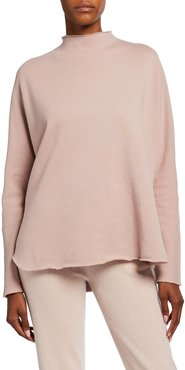 Long-Sleeve Funnel-Neck Capelet Top, Blush