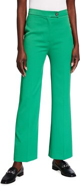 High-Waist Cropped Stretch Trousers