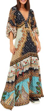 Forest Embroidered Puff-Sleeve Maxi Dress