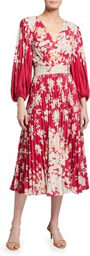 Ariella Floral Blouson-Sleeve Pleated Midi Dress