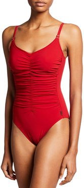Classique Ruched Solid One-Piece Swimsuit