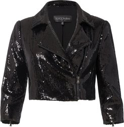Sequin Cropped Moto Jacket