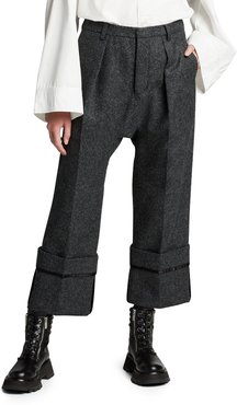 Drop-Crotch Pants with Wide Cuffs