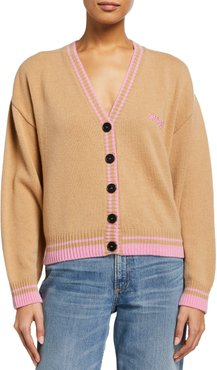 Wool-Cashmere Logo Sweater with Ribbed Trim