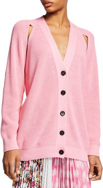 Cutout Knit Button-Front Sweater