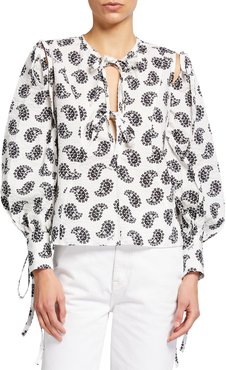 Puff-Sleeve Paisley-Print Tie Blouse