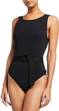 Lea Belted Solid One-Piece Swimsuit