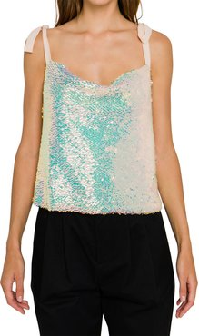 Orora Sequined Ribbon-Strap Tank Top