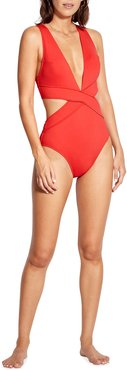 Cross-Front Plunge Cutout One-Piece Swimsuit