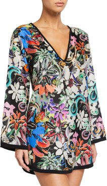 Orchid Floral Silk Coverup Tunic