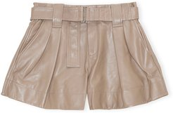 Belted Lamb Leather Shorts
