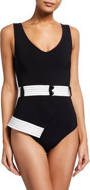 Alevtina Bicolor Belted One-Piece Swimsuit