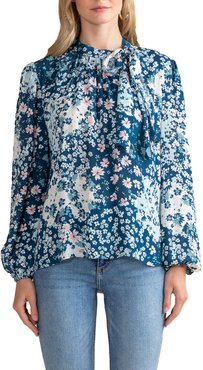 Kenmare Floating Lilies High-Neck Chiffon Top