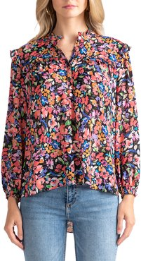 Cambell Floral Chiffon Button-Down Top