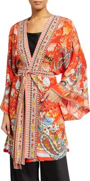 Embellished Silk Kimono with Belt