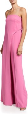Strapless Stretch Crepe Jumpsuit With Overlay Drape