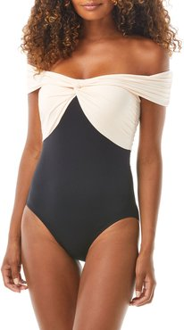 Ocean Icon Bicolor Off-the-Shoulder One-Piece Swimsuit