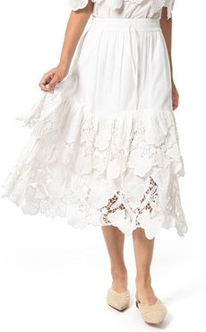 Capitola Embroidered Lace Midi Skirt