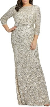 Plus Size Sequin 3/4-Sleeve Column Gown
